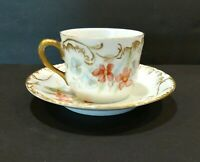 Vintage Austrian China Tea Cup and Saucer White Porcelain With Pink Floral