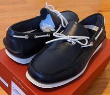 "$495 Mens Salvatore Ferragamo ""Caraibi"" Leather Boat Shoes Marine Blue US 9.5 EE"