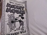 """Walt Disney Mickey Mouse Steamboat Willie Tapestry 38"""" x 28"""" black & White"""