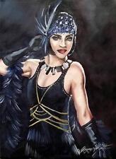 Dipinto originale olio su tela ritratto da Gregory Tillett: opera Guanti