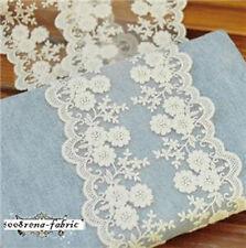 Scalloped Double Edge BLOSSOM Cotton Lace Wedding Invitation Card Doll 1M White