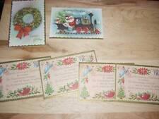 Vintage 1940's Christmas Cards Garrison Lot of 6 Santa Wreath Mint