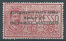 1917 REGNO POSTA AEREA ROMA TORINO LUSSO MH * - RR1512