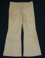 JACADI Girl's Ecto String Beige Stitched Flower Pants Sz 12 Years NEW $54