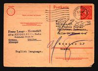 Germany Mi# P955 Postal Card to Mexico / Sm Top Tears - Z14723