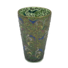 Vintage Bohemian Czech Moser Art Glass Enamel Decoration Gilt Green Tumbler 4""
