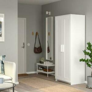 Wardrobe White 78x190 CM Wardrobe Bedroom Dresser Tall Cupboard 2-tür