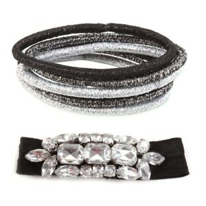 Assorted BLACK DIAMANTE GLITTER BOBBLES Metallic Crystal Hair Tie Ribbon Ponios