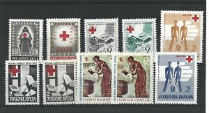YUGOSLAVIA  1952 - 59  5 RED CROSS  SETS  MH