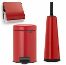 Brabantia Toilet Bathroom Set Brush Paper Holder Rubbish Bin Passion Red