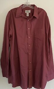 Kings Court Men's Button Down Shirt Red Burgundy Maroon Long Sleeve Size 18.5