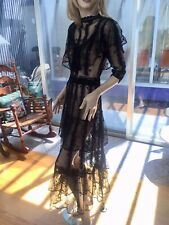 Lim's Vintage Intricate & Delicate All Hand Crochet Maxi Dress One Size Black