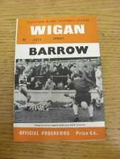 29/04/1969 Rugby League Programme: Wigan v Barrow  . Thanks for taking the time