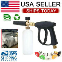 Snow Foam Washer Gun Car Wash Soap Lance Cannon Spray Pressure Jet Bottle US