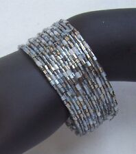 VINTAGE STYLE GLASS BEAD BRACELET WITH TRANSPARENT SILVER SEED BEADS