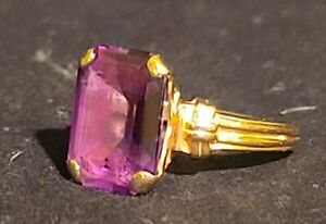 Vintage 14k Yellow Gold Emerald Cut Purple Saphire Ring