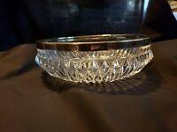 Vintage Diamond Point Serving Bowl W/Silver Colored Rim 8 1/2 inch