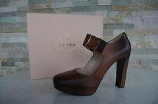 Prada Gr 39,5 Zapatos De Plataforma Con Tacón Tacones scarpe teca marrón nuevo