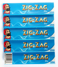 5 booklets - ZIG-ZAG BLUE King Size rolling paper - total 160 papers