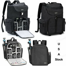 New Black Canvas Camera Bag Backpack For Canon Nikon Sony Leica Pentax SLR DSLR