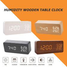 Wooden LED Temperature Humidity Alarm Clocks Voice Control Digital Display Clock