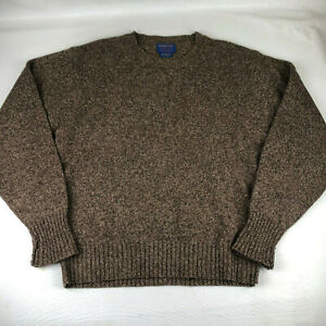 Pendleton Shetland Wool Crewneck Warm Sweater Brown Mens Size Medium M