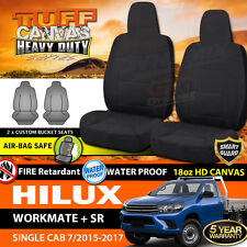 TUFF HD BLACK CANVAS Seat Covers for TOYOTA HILUX SINGLE CAB WORKMATE 7/2015-18