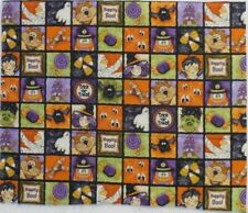 Halloween Witch Ghost Black Cat Fabric Block Print Spider Bat Candy Corn BTY