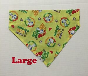 Snoopy Peace Love Recycle Happiness Hearts Blue Over Collar Pet Dog Cat Bandana
