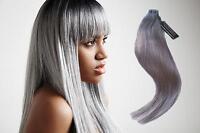 #Grey Grau Tape in Hair Extensions 100% Echthaar Strähnen Haarverlängerung 50cm
