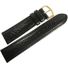 16mm Mens Fluco Record Black Buffalo-Grain Leather GOLD Buckle Watch Band Strap
