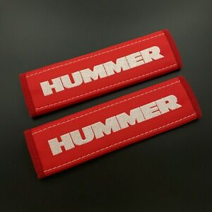 Hummer Red Seat belt covers pads White embroidery 2PCS