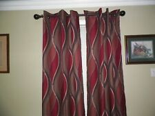"""TWO PANEL MAROON GREEN TANS BLUE THERMAL ROOM DARKENING GROMMET CURTAINS 40""""x82"""""""