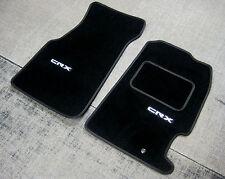 Tapis de voiture Noir super velours convient à Honda CR-X sol (91-98) + Logos