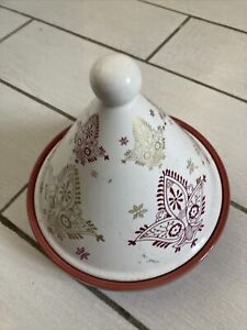Mediterranean 20cm Serving Tagine - Red, cream, gold design