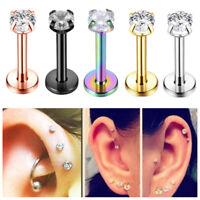 Crystal  Lip Ear Stud Earrings Surgical Labret Piercing Cartilage Body Jewelry