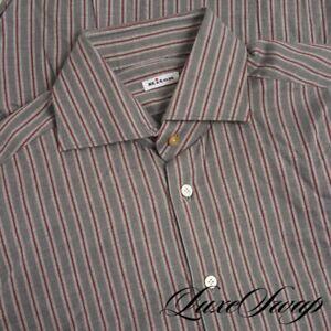 #1 MENSWEAR Kiton Napoli Smoke Grey Berry Flannel Stripe Button Down Shirt 17 NR