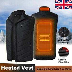 Unisex Electric Battery Heated Heating Pad Vest Winter Warm Up Jacket Warmer UK