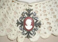 Civil War Dress Victorian Style Accessory-Silver Cameo Brooch~Necklace Loop