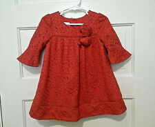 Adorable Laura Ashley London Party Dress Brilliant Red Lace Fully Lined