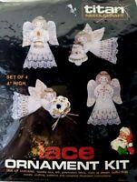 SEALED Titan Needlecraft Lace Ornament Kit Set of 4 Angels Vintage 1985 NEW