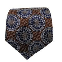 ERMENEGILDO ZEGNA PAISLEY BROWN BLUE Silk TIE 60/3 Inches Made In Italy