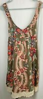 Free People Dress Size 6 Green Pink Floral Sleeveless Lace Hem Above the Knee