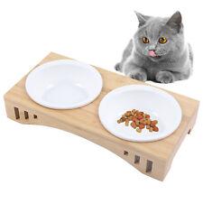 Double Ceramics Bowl Dog Cat Feeder Elevated Stand Raised Dish Bamboo Holder Usa