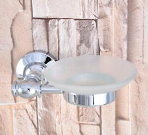 Polished Chrome Bathroom Shower Soap Dish Storage Wall Mount Glass Soap Holder