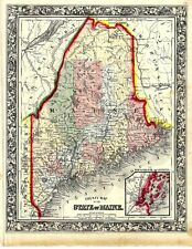 1860 Map Of The State Of Maine. Nice Clean Hand Colored Map.