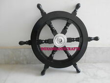 Vintage Wooden Black Ship'S Wheel Handcrafted Style Aluminum Centre Decor Item