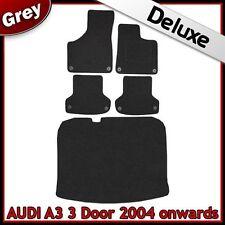 AUDI a3 mk2 3-Door 2003-2013 su misura 1300g di Lusso Tappeto Auto e le stuoie di avvio Grigio