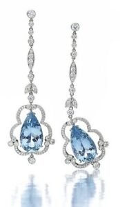 9Ct Pear Aqua Blue Topaz Synt. Diamond Chandelier Earrings White Gold Fns Silver