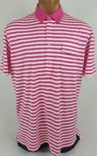 Men's POLO Golf Ralph Lauren Pima Cotton Striped Pink & White Shirt Size Large